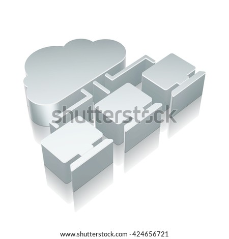 Cloud technology icon: 3d metallic Cloud Network with reflection on White background, EPS 10 vector illustration. - stock vector