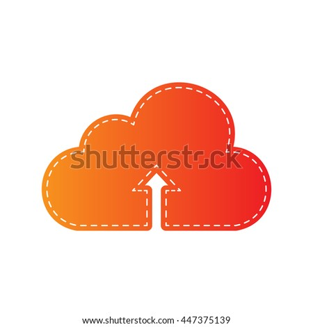 Cloud technology sign. Orange applique isolated.