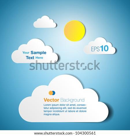 Cloud text box - paper cutout design - stock vector