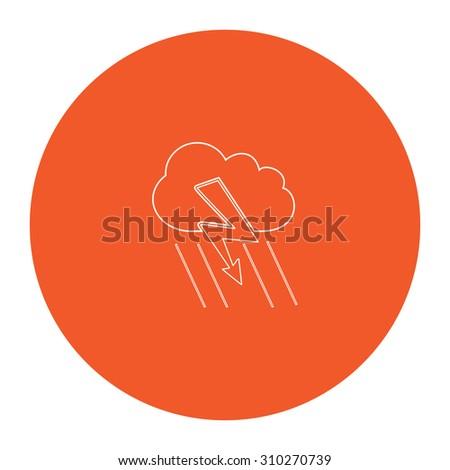 Cloud thunderstorm lightning rain. Flat outline white pictogram in the orange circle. Vector illustration icon - stock vector