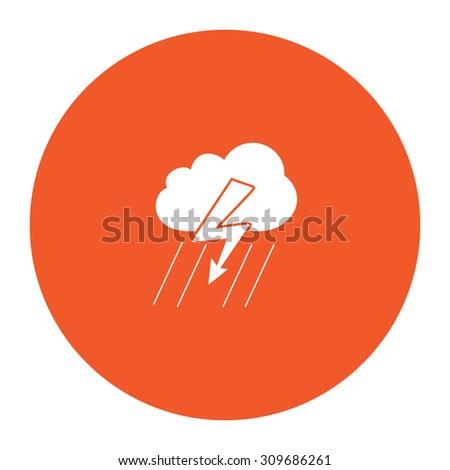Cloud thunderstorm lightning rain. Flat white symbol in the orange circle. Vector illustration icon - stock vector