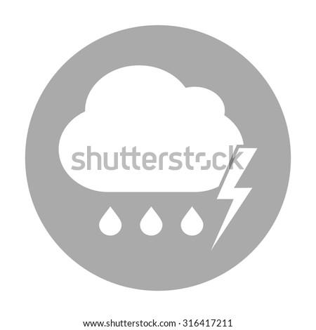 Cloud thunderstorm lightning rain icon - stock vector
