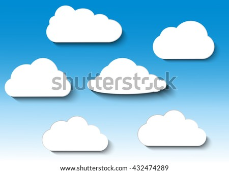 Cloud vector icon set white color on blue background. Sky flat illustration collection for web, art and app design. Different nature cloudscape weather symbols.