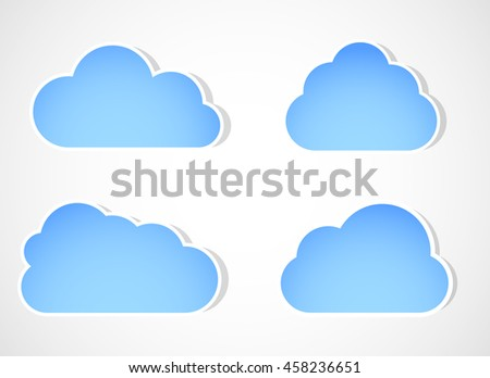 Cloud vector icon set white color on gray background. Sky flat illustration collection for web, art and app design. Different nature cloudscape weather symbols. Paper cut or Paper art concept. - stock vector
