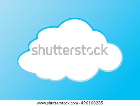 Cloud vector icon white color on blue background. Sky flat illustration collection for web, art and app design. Different nature cloudscape weather symbols.
