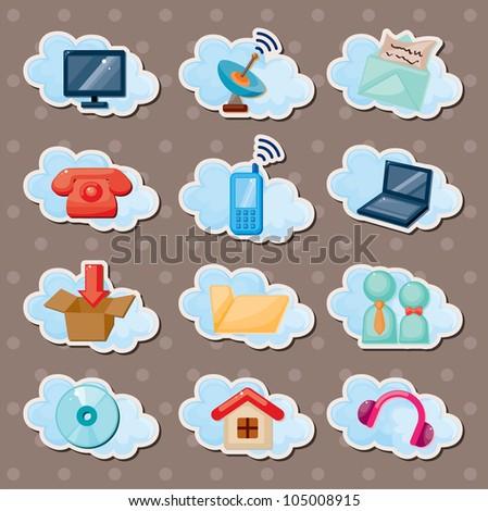 cloud web stickers - stock vector