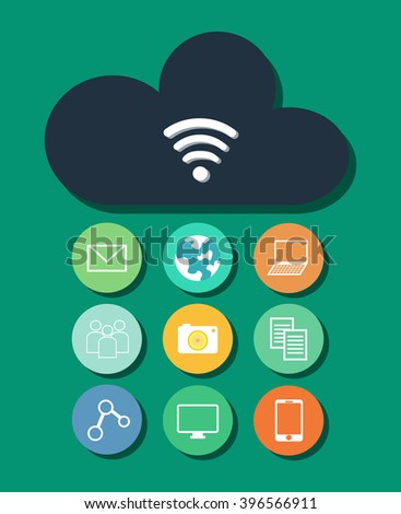 cloud wi-fi connection and social network icon