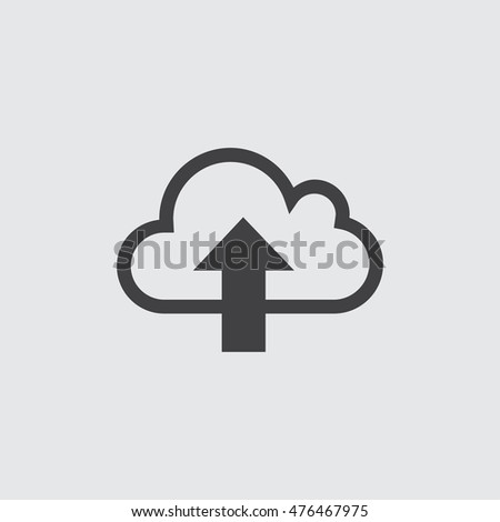 Cloud with arrow icon in a flat design in black color. Vector illustration eps10