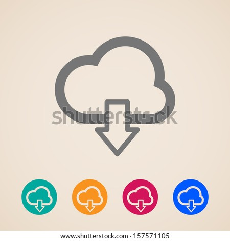 cloud with download arrow. vector icons - stock vector