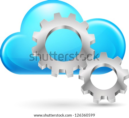 Cloud with Gearwheel. Illustration on white background for design