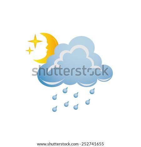 cloud with rain - stock vector