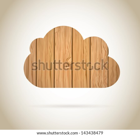 cloud wood over brown background vector illustration - stock vector