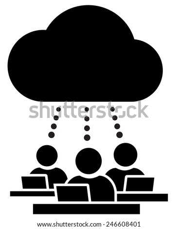 Cloud working group icon - stock vector