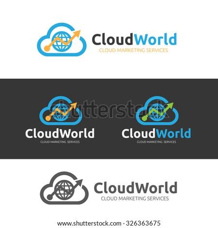 Cloud World,Cloud Logo,Vector Logo Template - stock vector