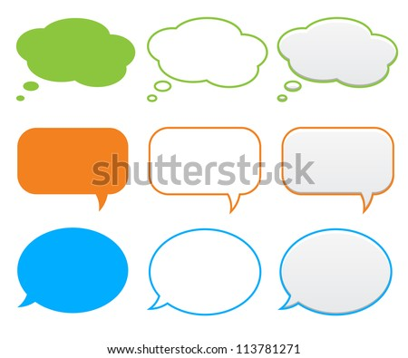 Clouds and bubbles for speech - stock vector