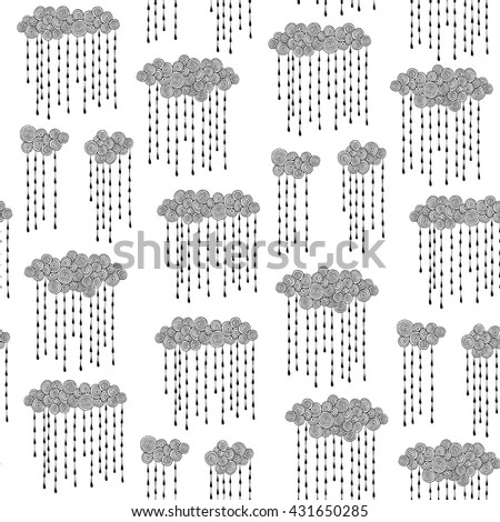 Clouds and rain drops seamless pattern for kids. Hand drawn vector black and white illustrations. Childish doodle. - stock vector