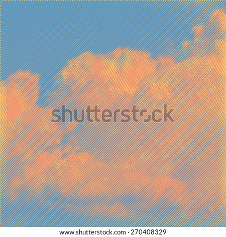 clouds at dawn, retro engraving style. design element. vector illustration - stock vector