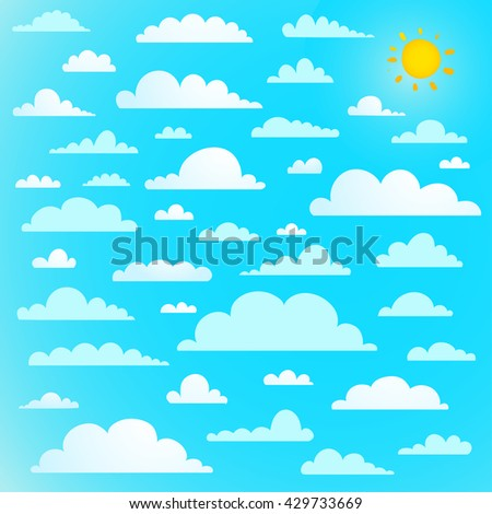Clouds collection on blue sky with sun. Clouds on bright blue sky with sun, vector illustration - stock vector