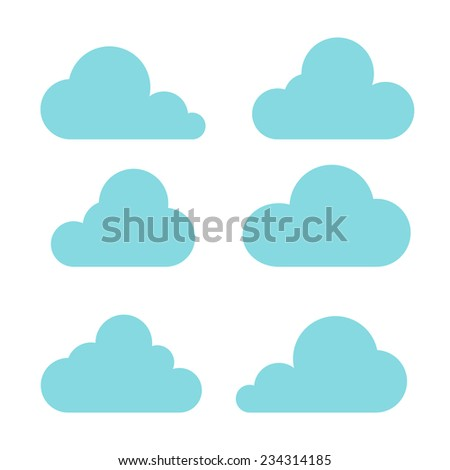 clouds collection on white background  - stock vector