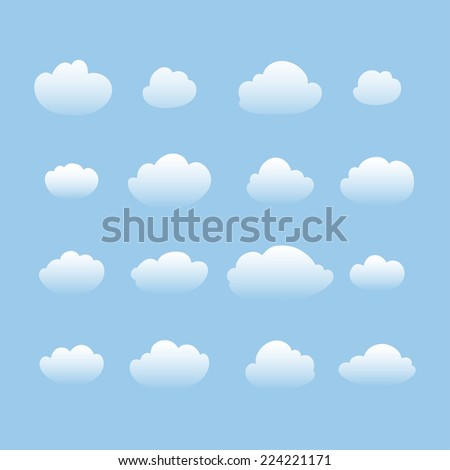 Clouds collection.Vector illustration. - stock vector
