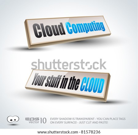 Clouds Computing 3D Panels with Transparent Shadows and glossy reflection. Ready to copy and past on every surface. - stock vector