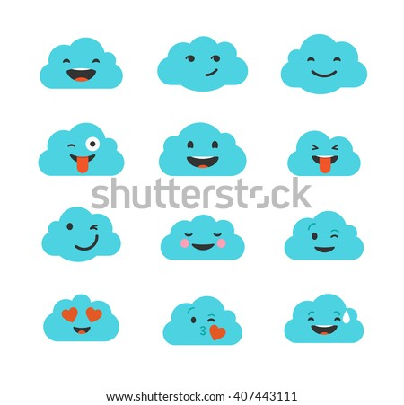 Clouds cute emoji, smily emoticons faces set - stock vector