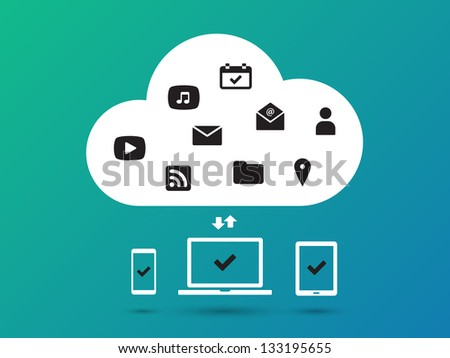 Clouds for social networks on blue background. Cloud computing concept. Vector illustration. - stock vector