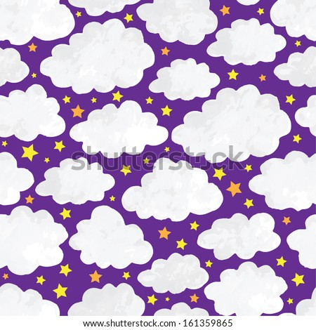 clouds in the night sky seamless pattern