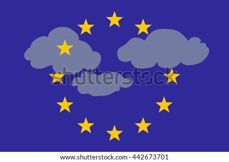 Clouds in the Sky of Europe, vector illustration