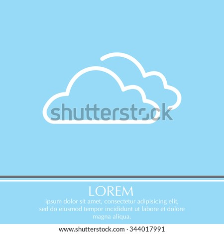 clouds line icon, vector illustration. Flat design style