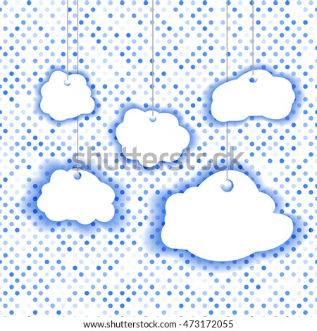 clouds on a background of dots