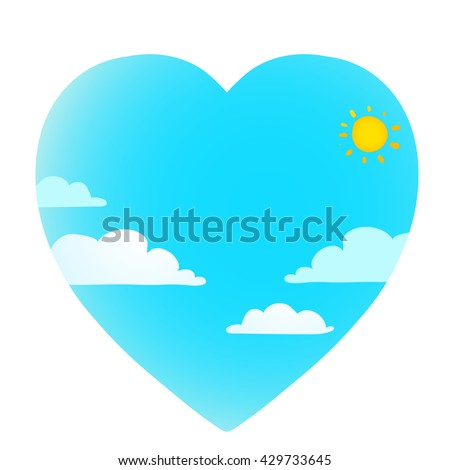 Clouds on blue sky with sun heart shape. Cloudscape sunny love weather forecast, vector illustration - stock vector