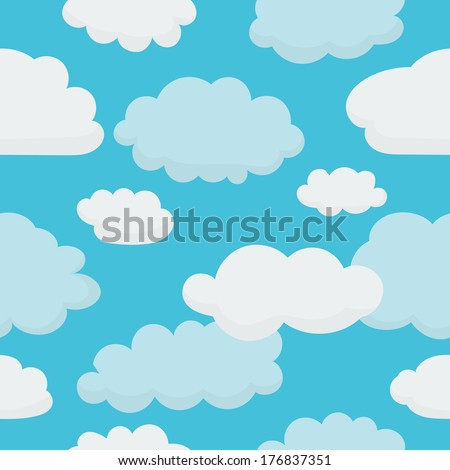 Clouds on Light Blue Sky - Seamless Background with Pattern in Swatches - stock vector