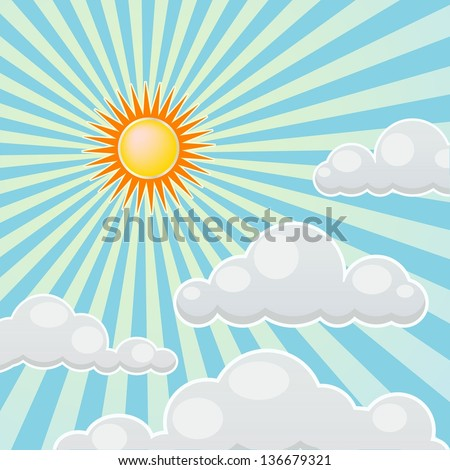 clouds on sunny day - stock vector