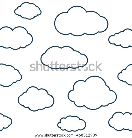 Clouds seamless pattern. White continuous background with outline sky cloudlets. Simple vector repeating texture in eps8 format.