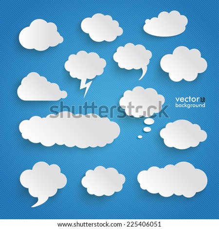 Clouds set on the blue background. Eps 10 vector file. - stock vector