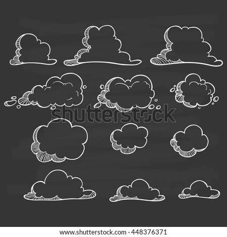 Clouds set with hand drawing or doodle art on chalkboard background - stock vector