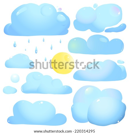 Clouds Sun and Rain Drops. Gradients in watercolor style. Vector illustration EPS8. - stock vector