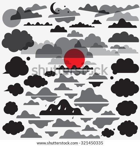 clouds vector design elements - stock vector