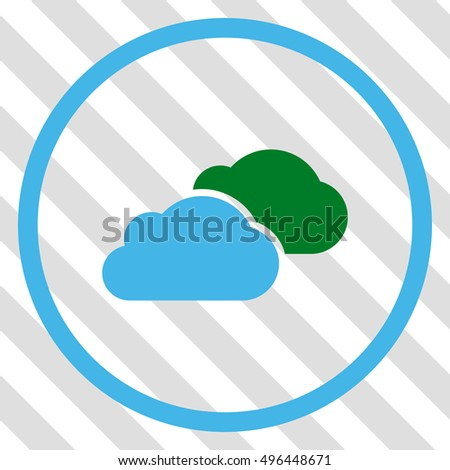 Clouds vector icon. Image style is a flat blue and green pictograph symbol on a hatched diagonal transparent background.