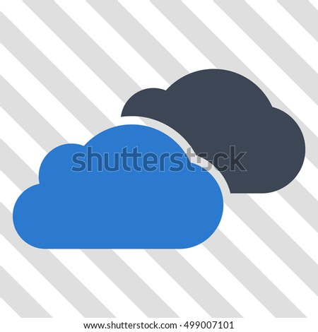 Clouds vector icon. Image style is a flat smooth blue icon symbol on a hatched diagonal transparent background.
