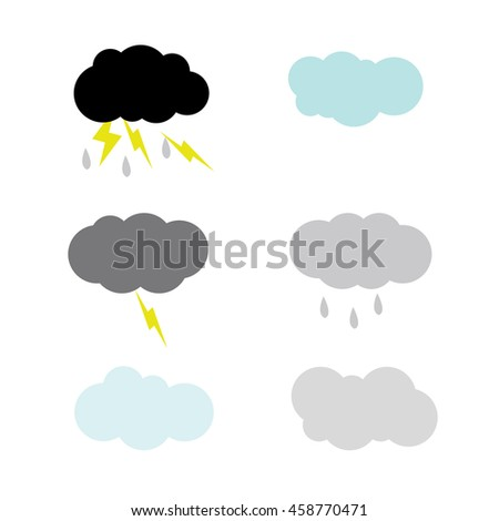 clouds Weather illustration isolated in a white background - stock vector