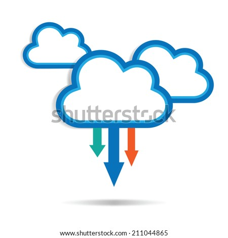 clouds with arrows on white background