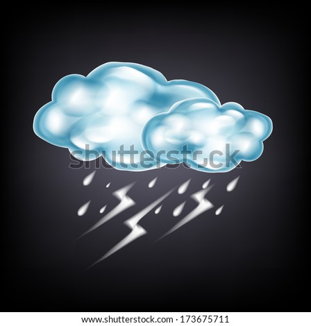 clouds with lightning and rain on dark background - stock vector