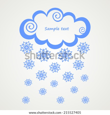clouds with snow on white background. Vector Illustration  - stock vector