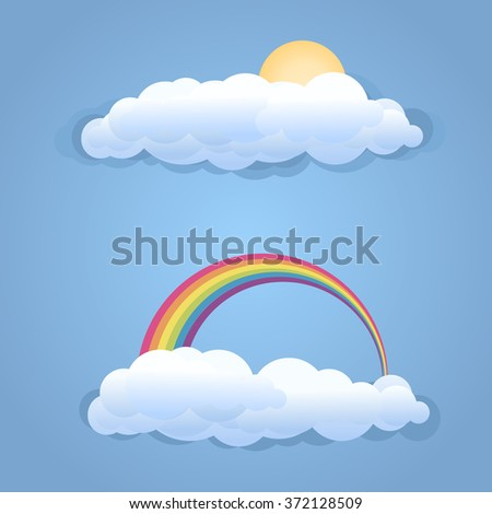 Clouds with sun and rainbow symbol isolated .Vector illustration