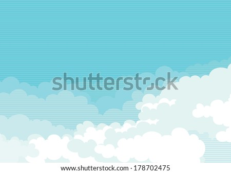 Cloudscape. Vector horizontal background of blue sky with clouds.