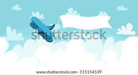 Cloudscape with plane and placard. Vector illustration background. - stock vector