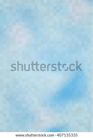 cloudy abstract color background covered by squares, blue, vector illustration - stock vector