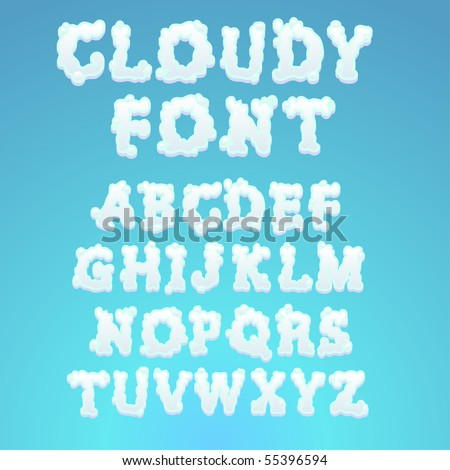 Cloudy alphabet - find more fonts in my portfolio - stock vector